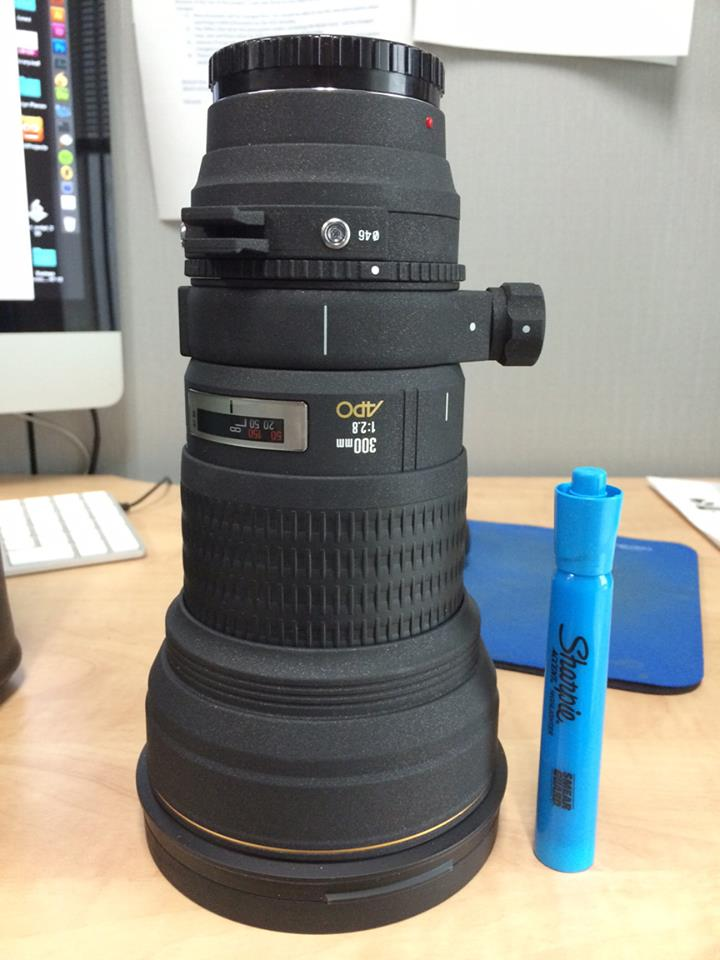 The newest piece of equipment - a 300mm f2.8, made by Sigma.