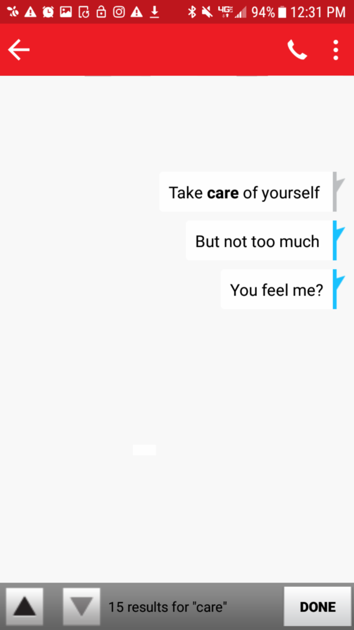 "Search for ""care"" in SMS #1."