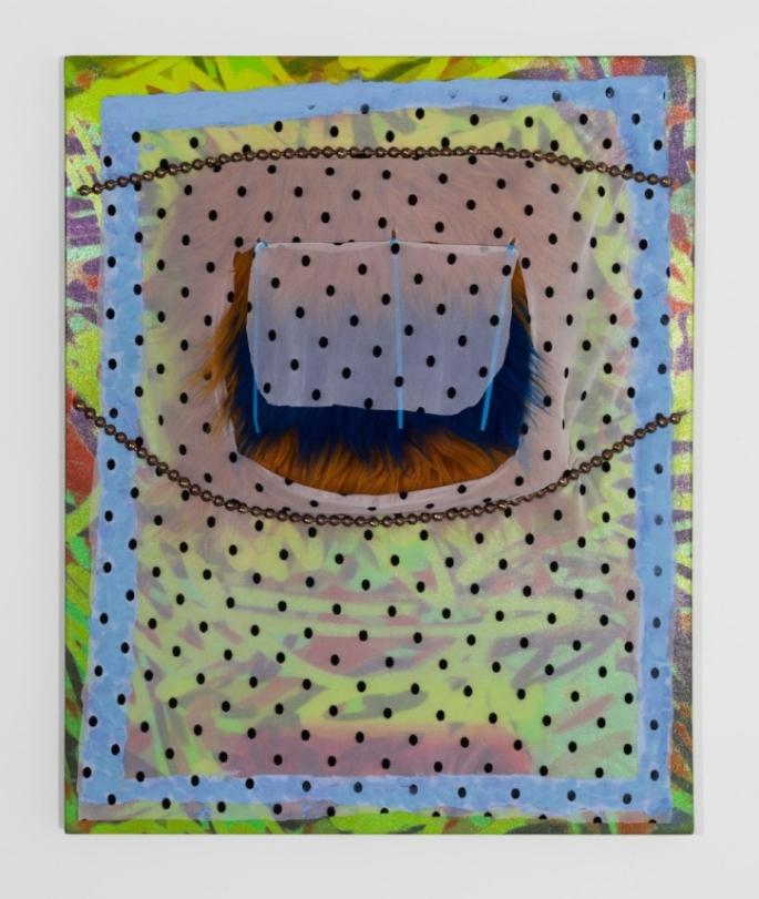 "Leeza Meksin, Lift My Eyelid , Spandex, tulle, acrylic, oil, faux fur, zip ties and upholstery tacks on canvas, 24"" x 30"", 2015."