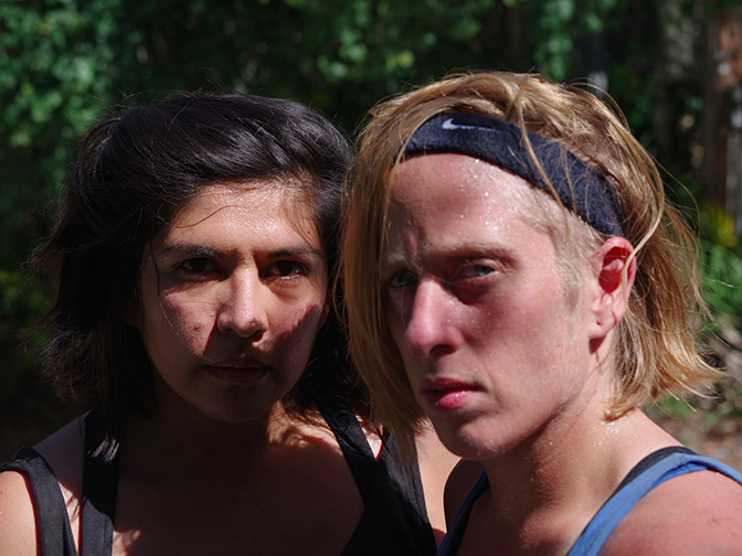 Dana Hoey, a video still picturing artists Marcela Torres and Res,2016.