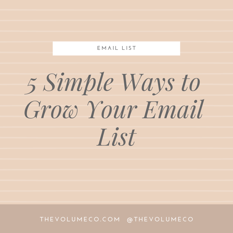 5 Simple Ways to Grow Your Email List - The Volume Co