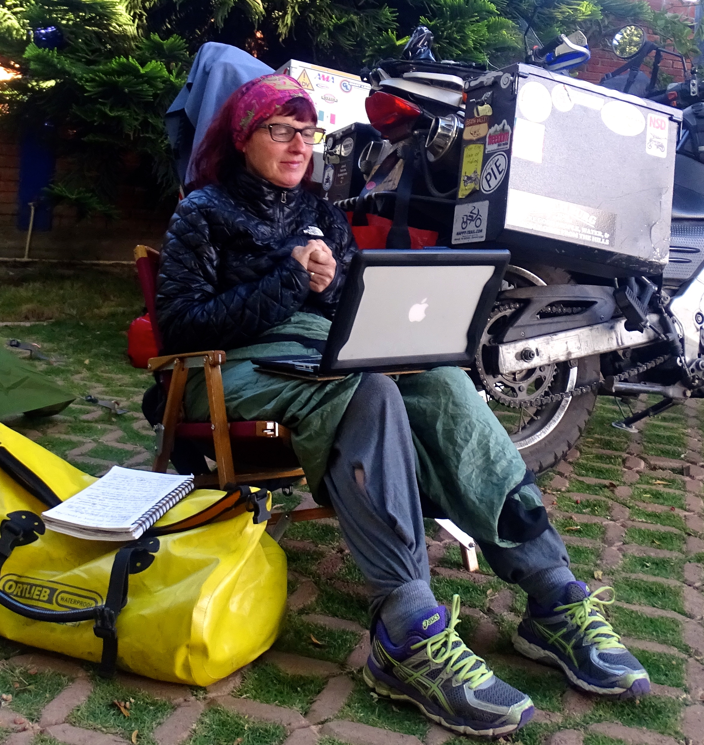 Chilly early morning writing in our campground outside Oaxaca.