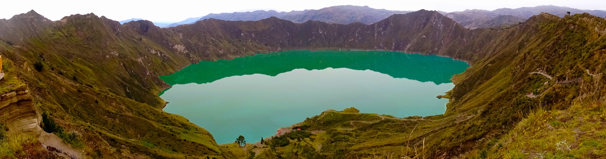 We may be stuck due to a package but we're not forced to stay in the same place. This is Quilatoa Lake high in the Andes of Ecuador.