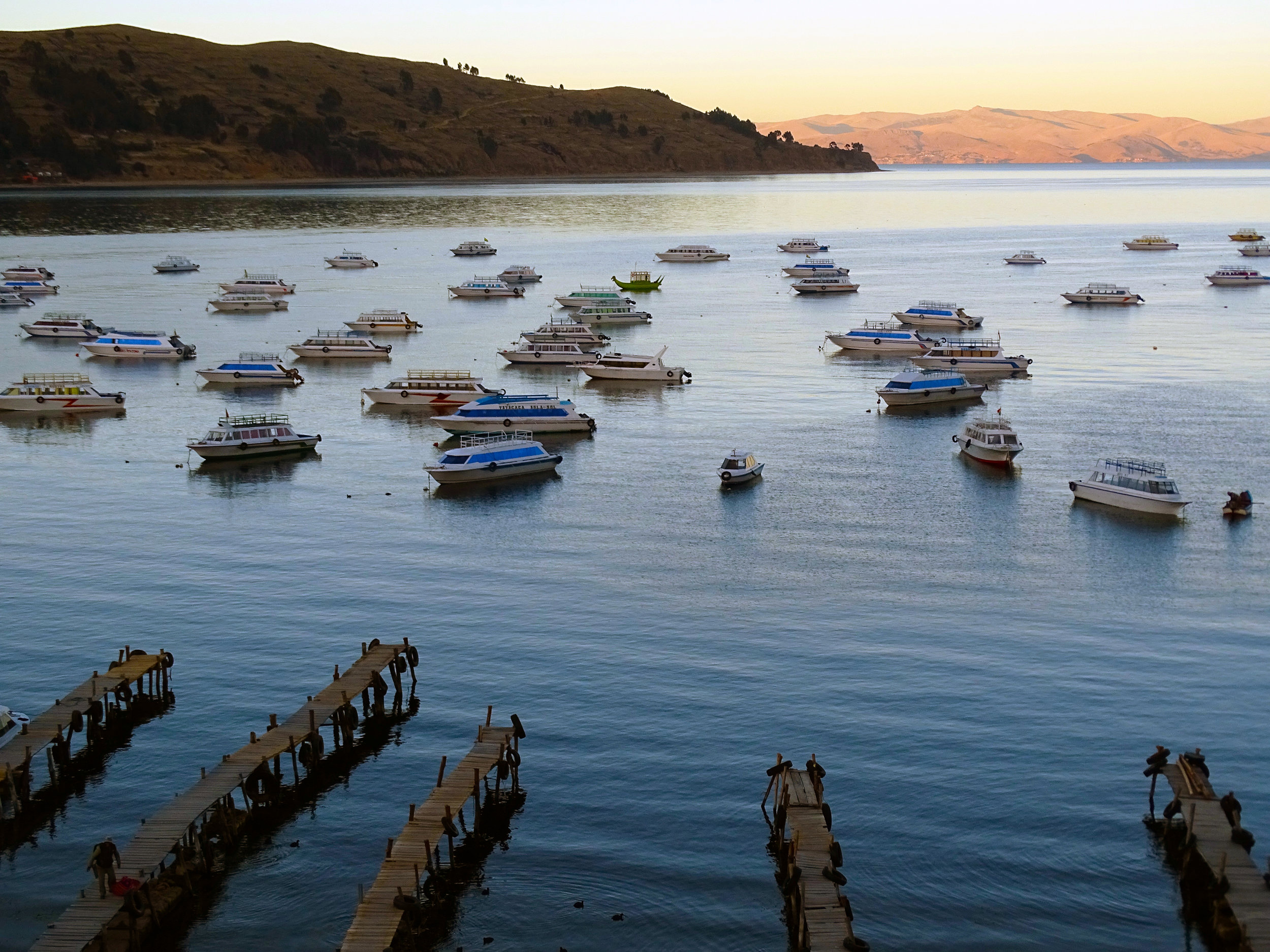 Sunrise on Lake Titicaca.