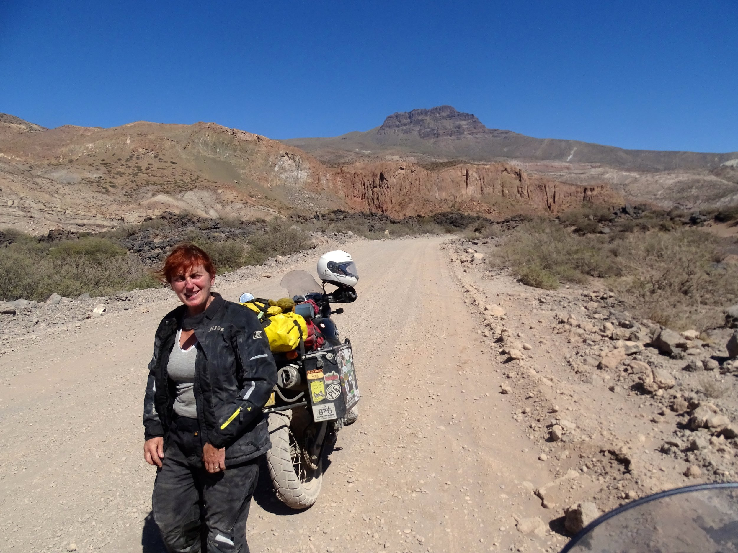 Riding to Mendoza was HOT! Notice the LACK of smile on my face. Ha!