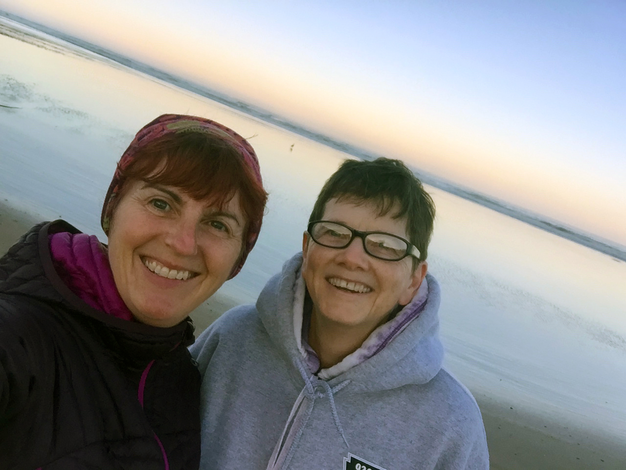 "With my buddy Cyn on ""my"" Beverly Beach near our home."