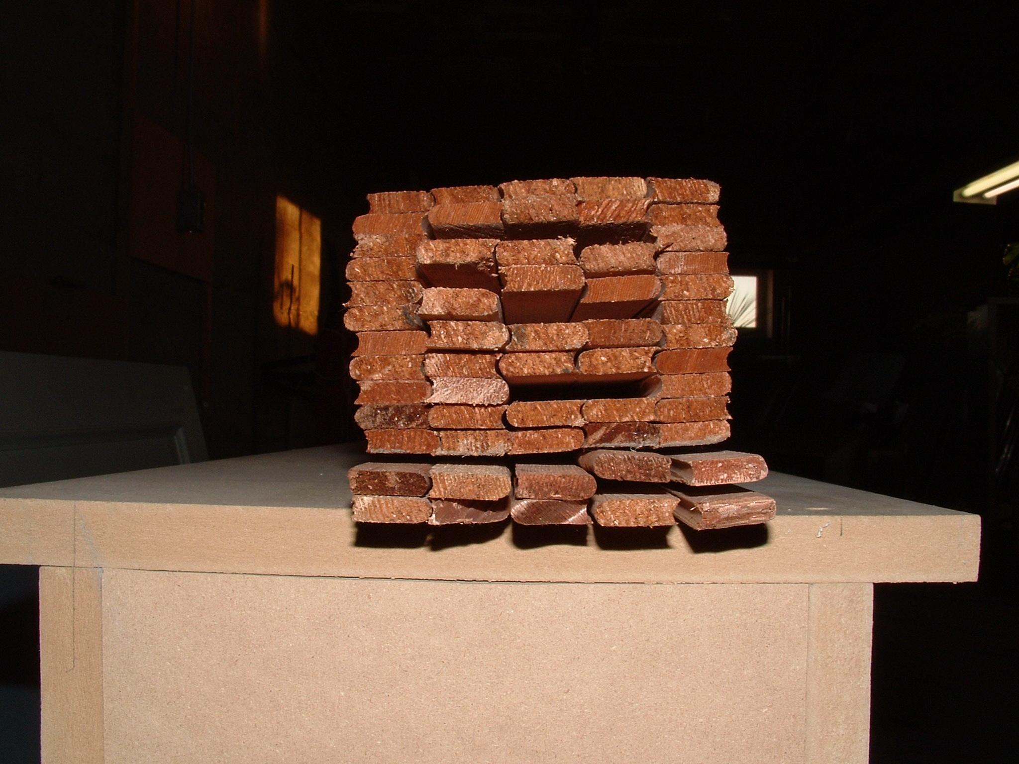 Ends of the cedar strips