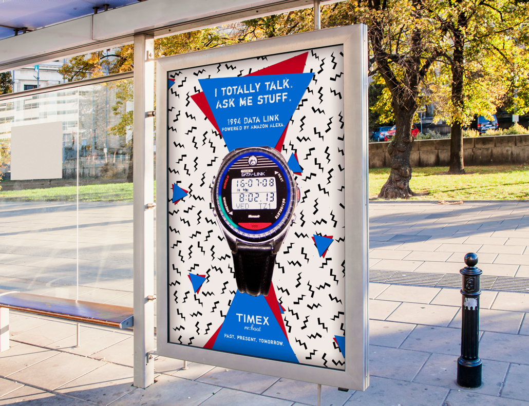 Interactive billboard for 1994 Datalink answers your questions while you wait for the bus.