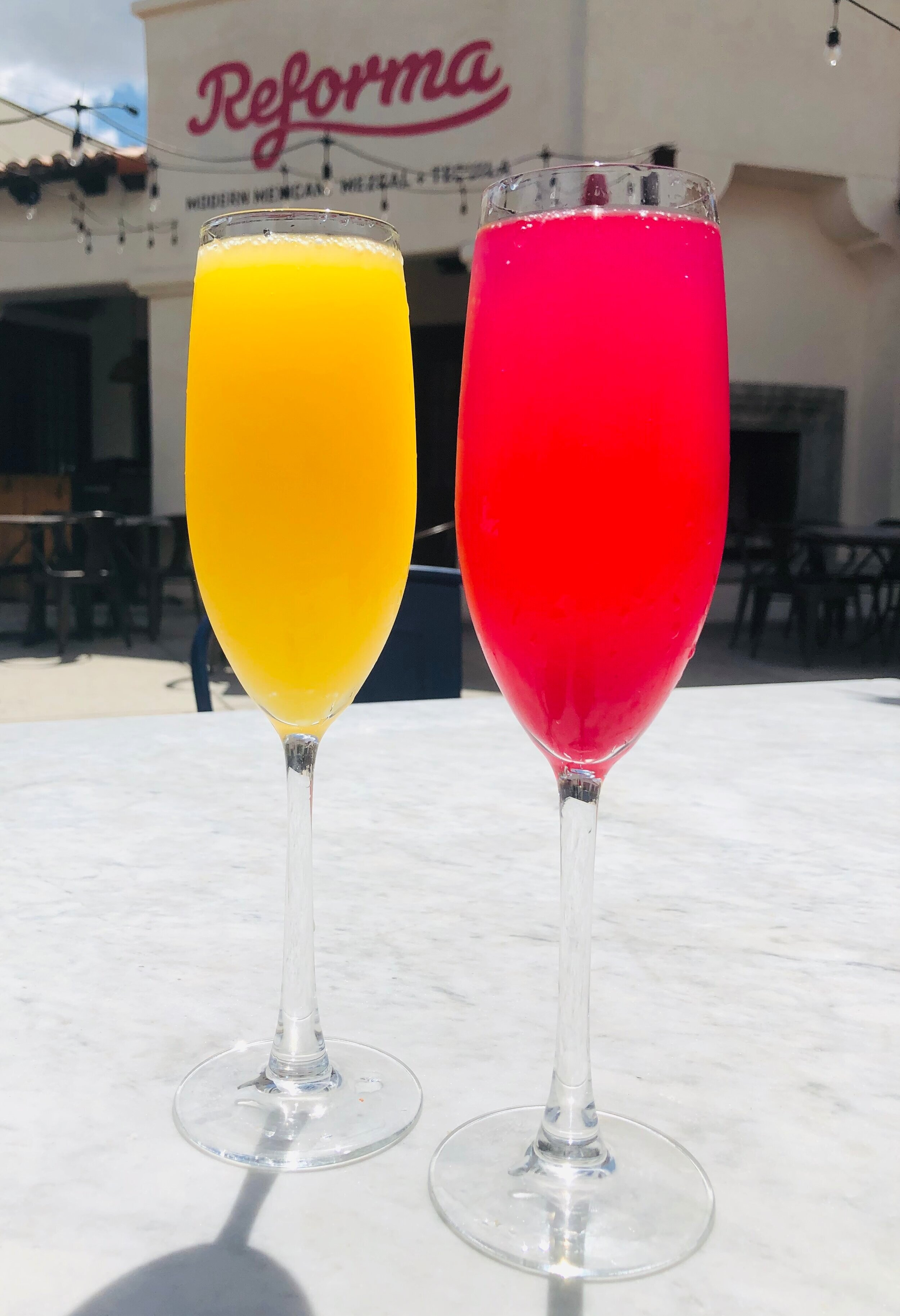 Mimosas on our beautiful patio!