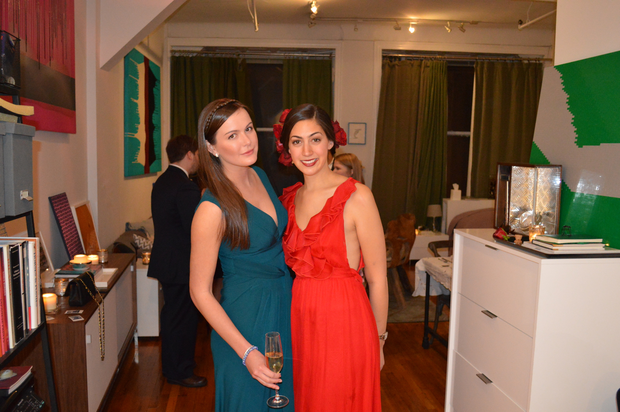 Me, dressed up like a Hallmark Valentine, and dear friend Lucy Demery.