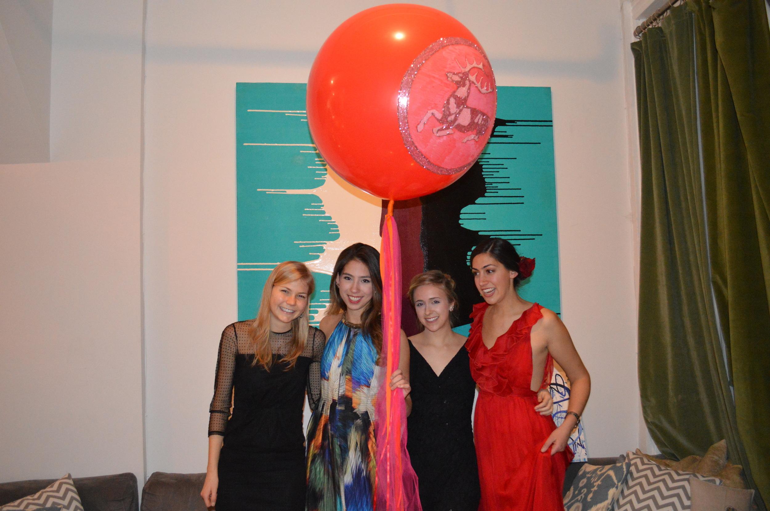"Some ""Galentines"": Leslie Blackshear, Alyss Vavricka, Sophie Lambert, and me."