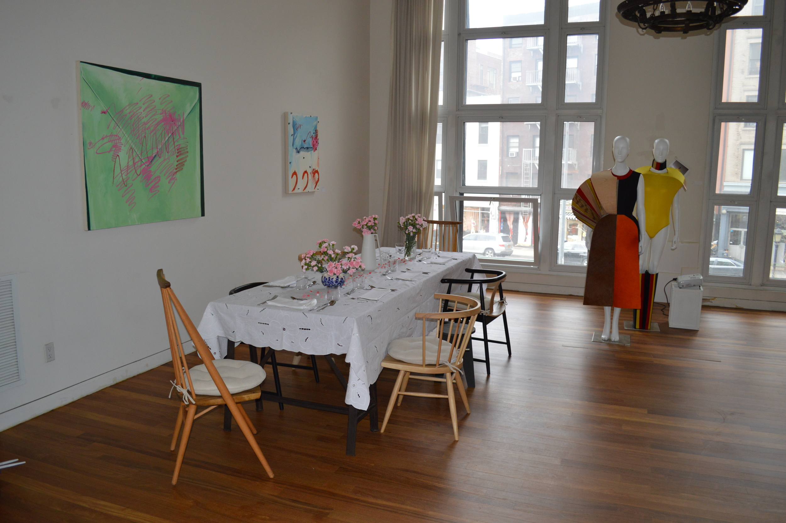 The exhibition space at MISS: Salon in SoHo -- and the setting for this afternoon's Victory Club luncheon