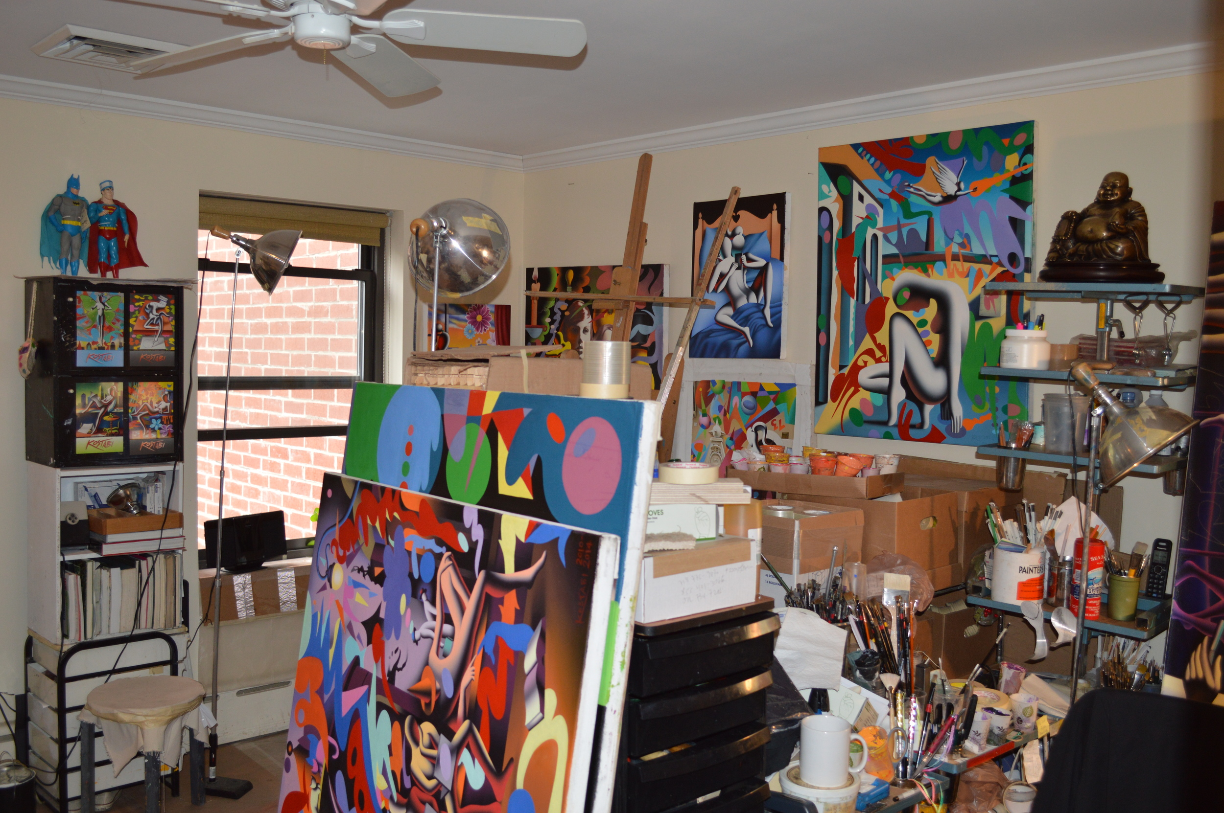 "The Studio at Kostabi World, including the ""Sexting"" painting that was the most popular one among the group :)"