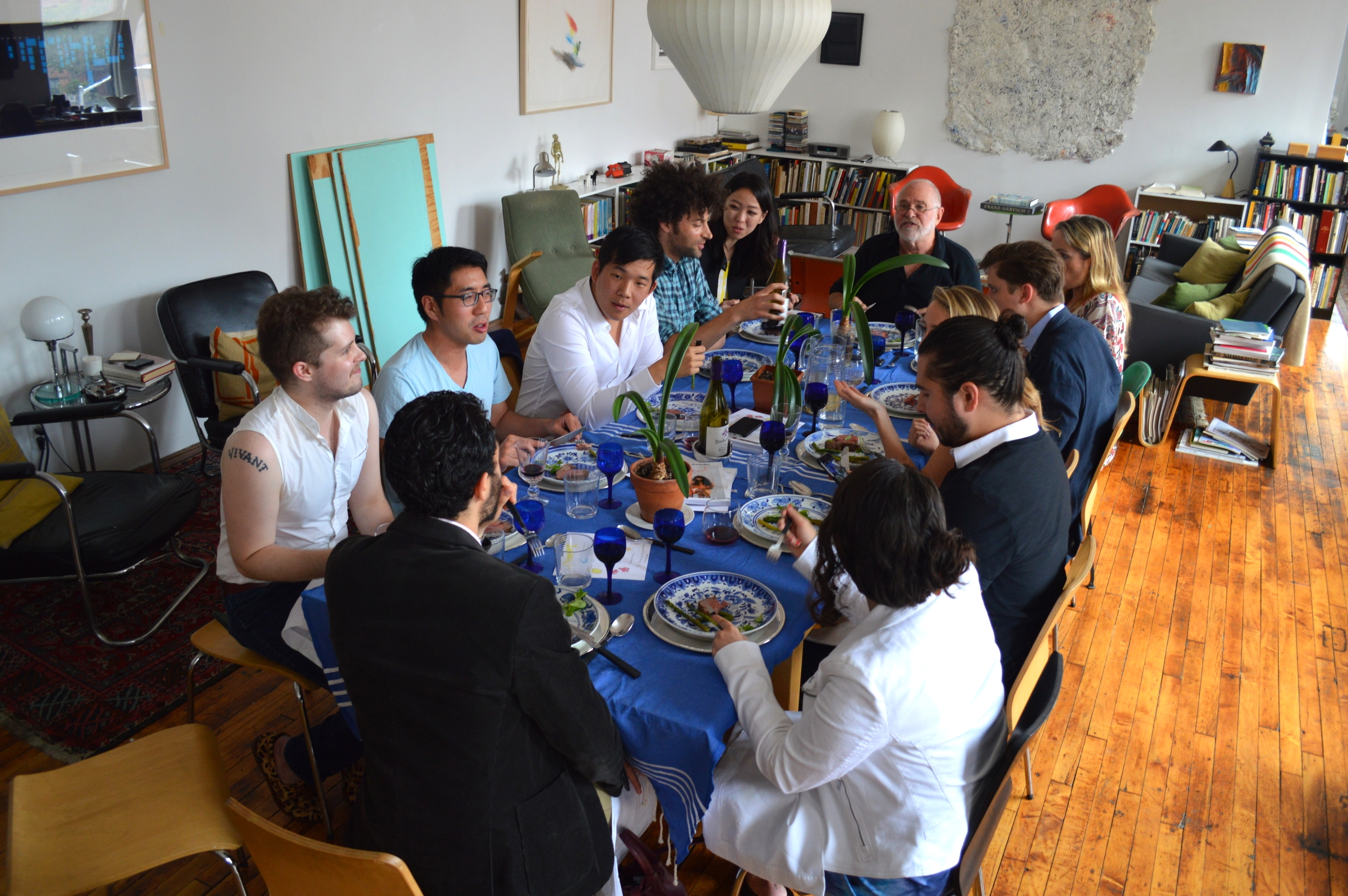 Guests dining at the table