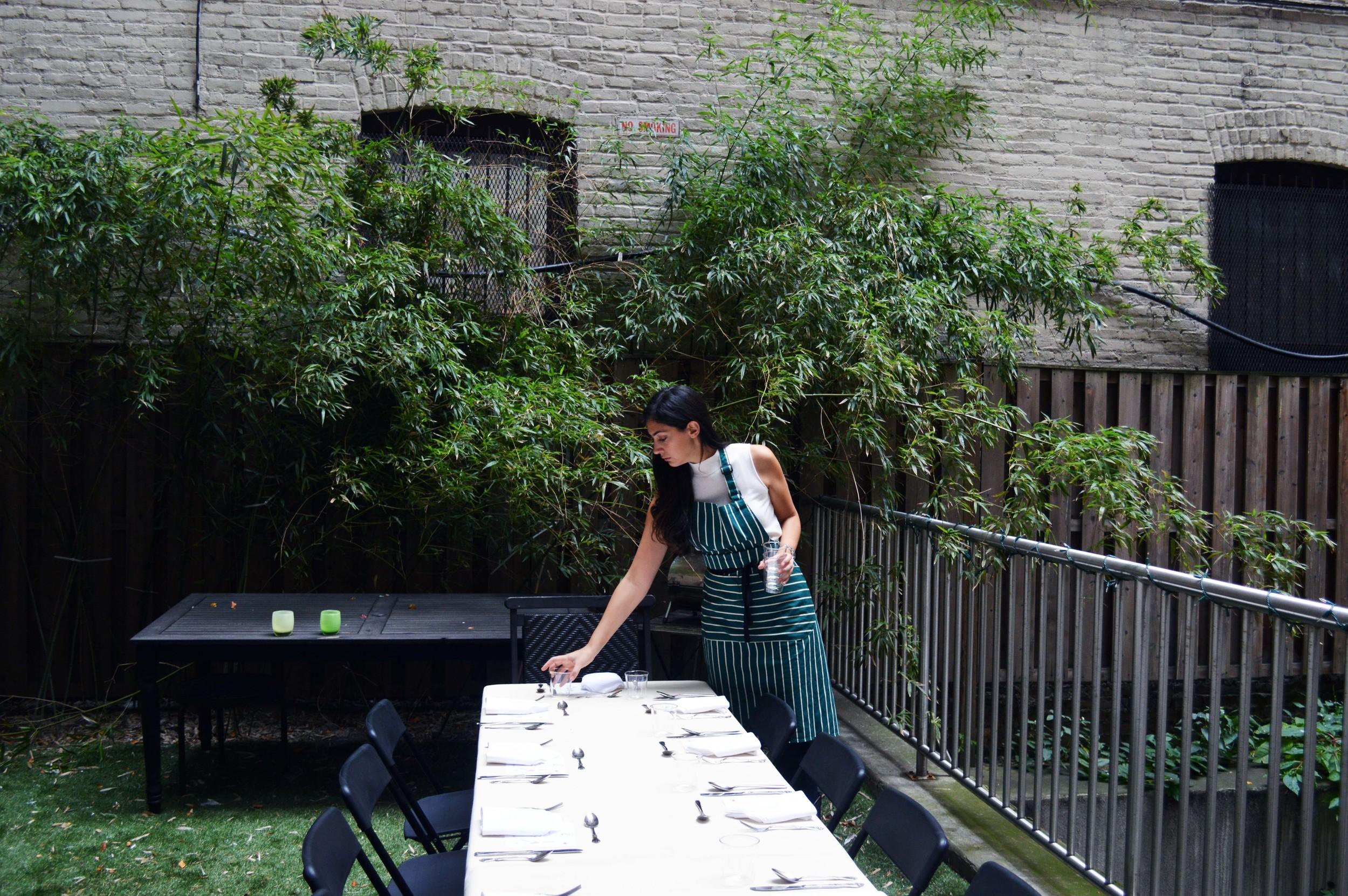 Stephanie Nass prepares for the event.