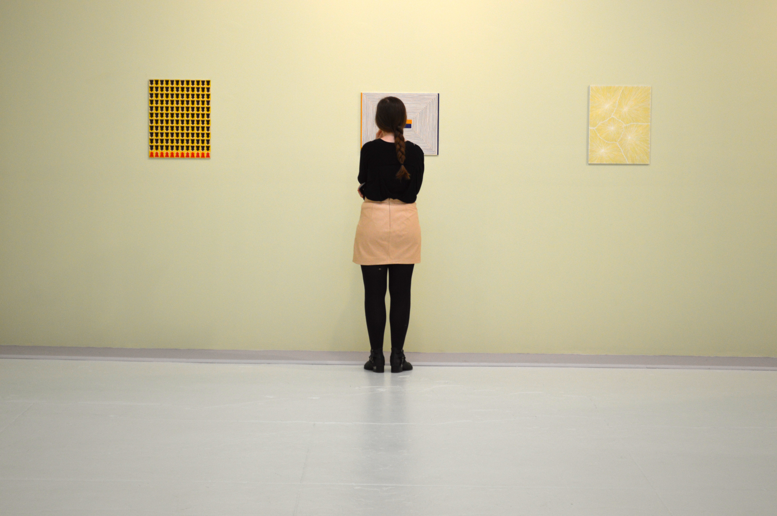 Installation of works by James Siena, from Intimacy in Discourse: Reasonable Sized Paintings