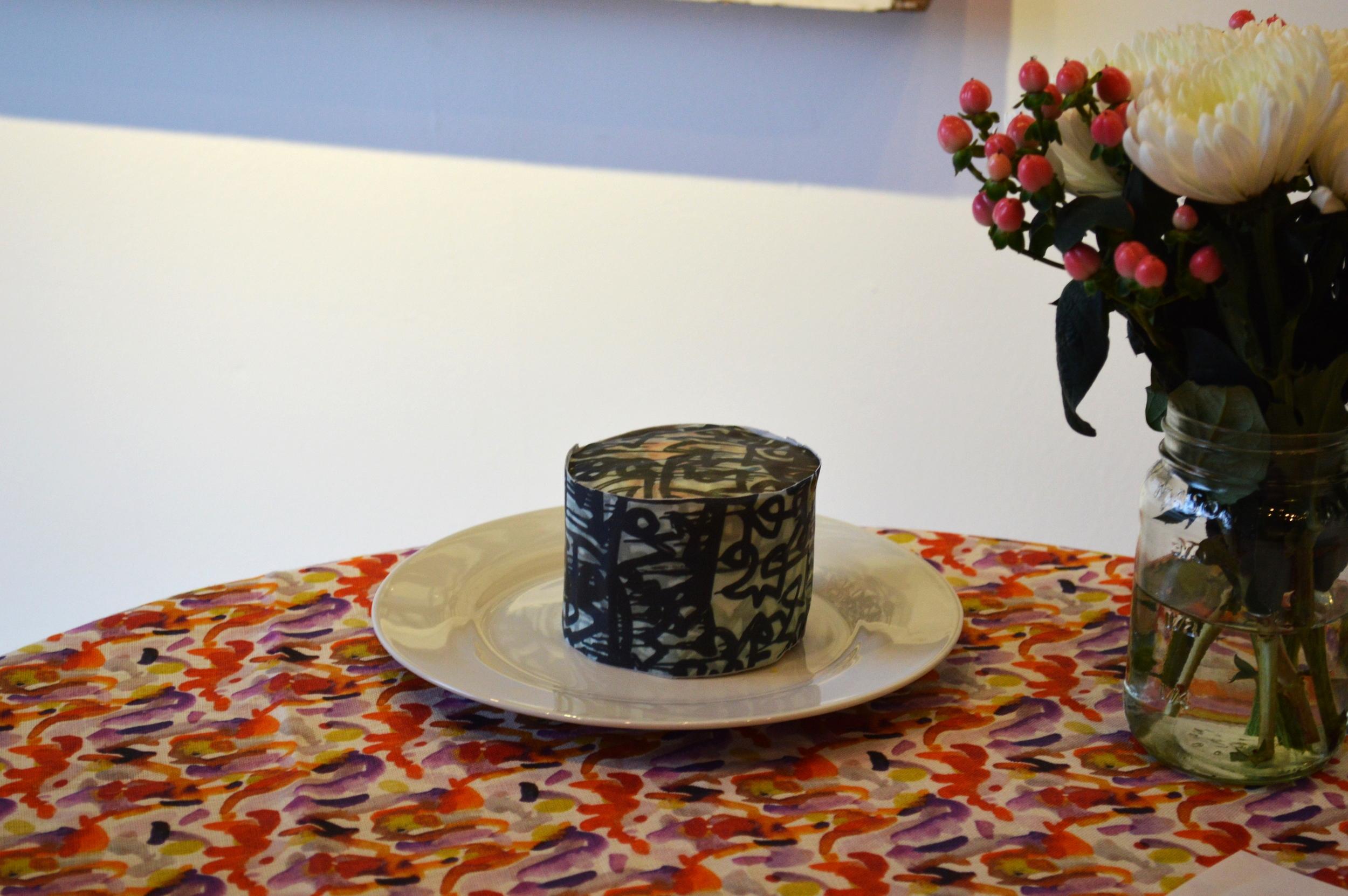 Chefanie's cake on Andra Eggleston's tablecloth