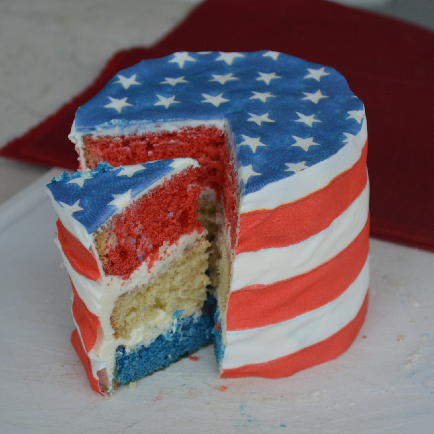 American Flag cake  with  Caprices Chefanie Sheets . When ordering, note that you want your sheet to be an American flag.