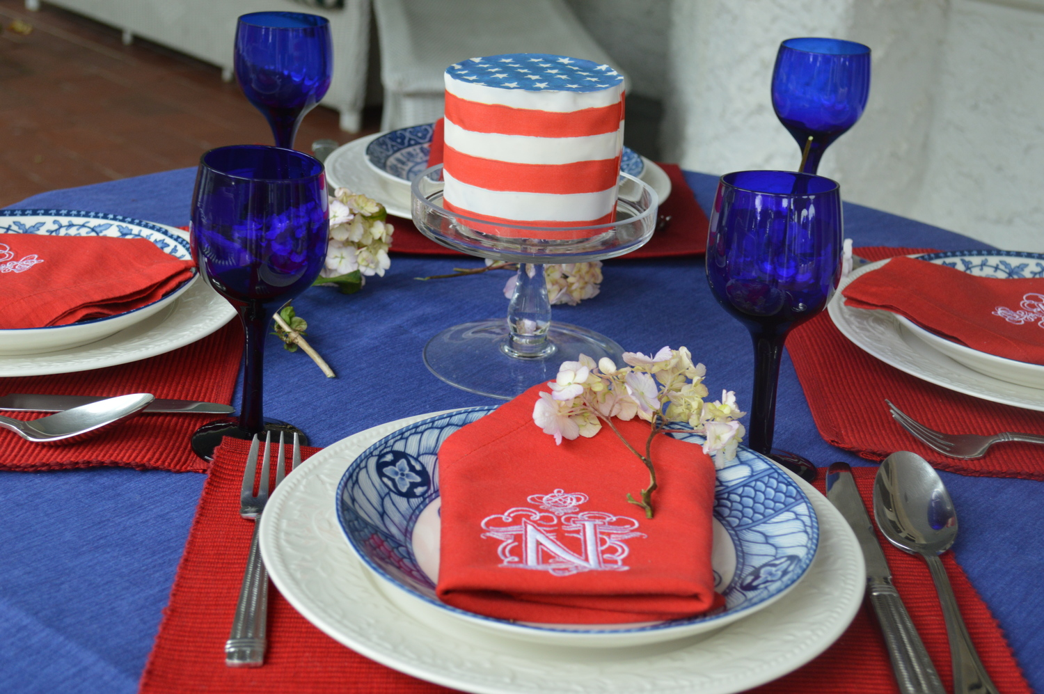 Chefanie's 4th of July Table. Custom napkins available  here , American flag Chefanie Sheet available  here