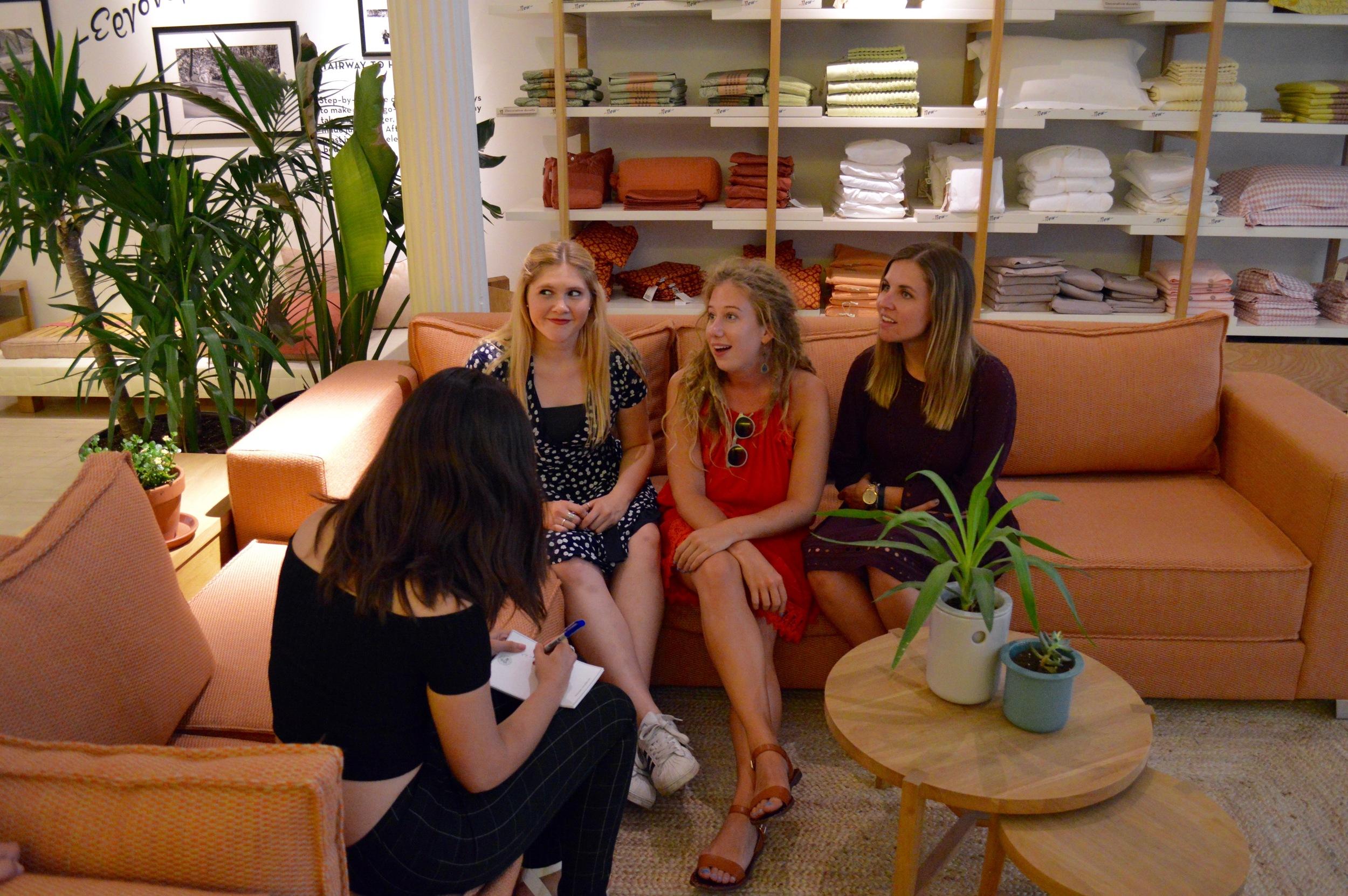 Kate Weiser drawing Sarah Stipe,  Kaitlin Orr  and Kristin Mathuny
