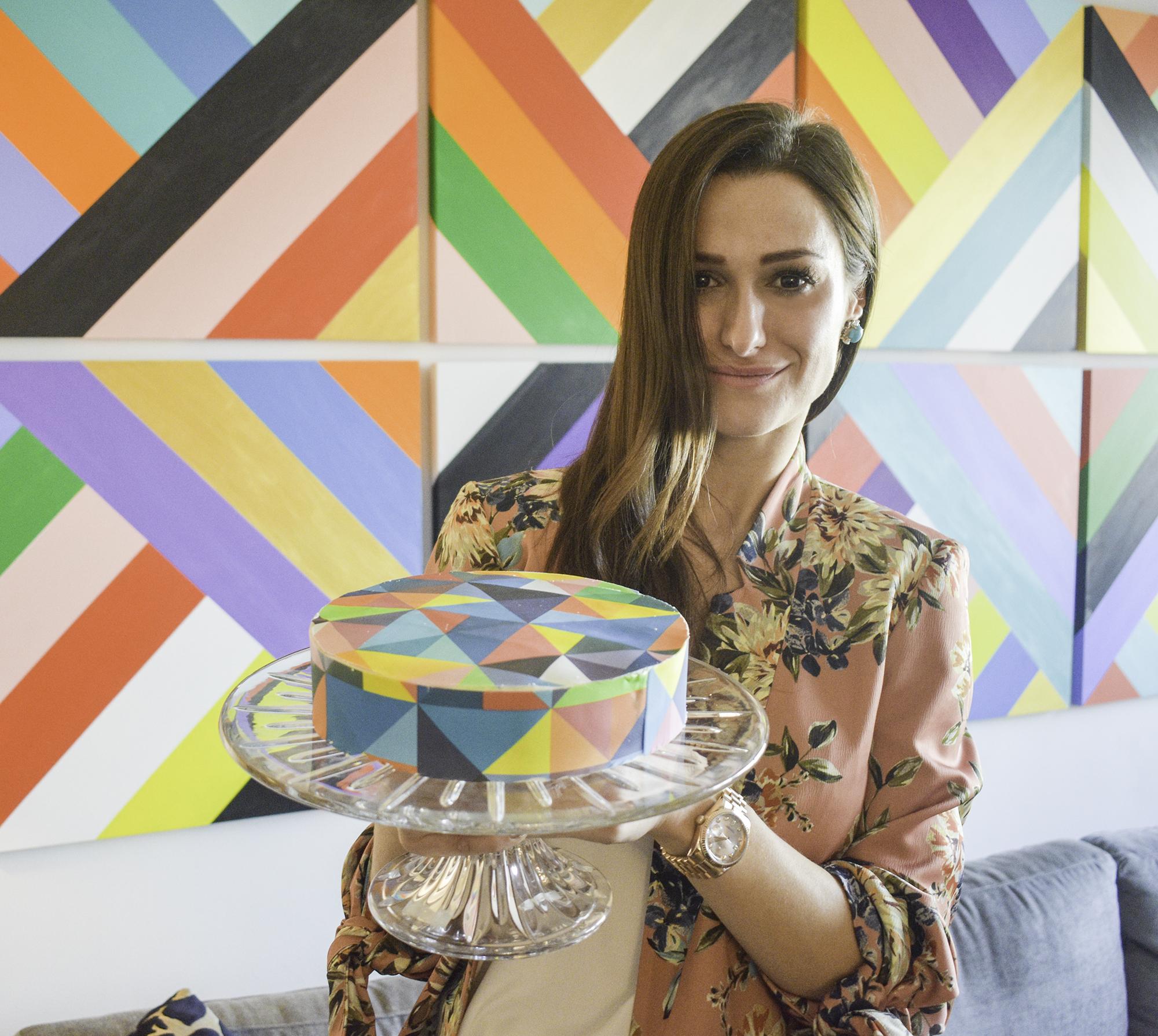 Vanilla Cake  with  Chefanie Sheets  inspired by Elizabeth Sutton's rainbow graphic work