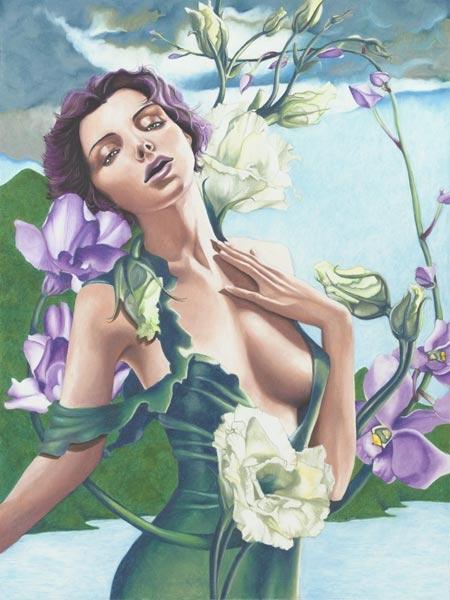 """Efflorescence    © Anima  McKertcher  36"""" x 48""""   Oil pastel on canvas"""