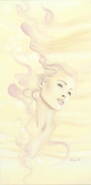 "Artwork:  Breath of Light  12"" x 36"" Oil Pastel on Canvas"