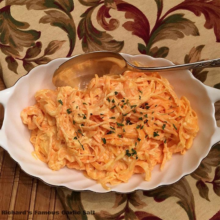 Gluten-free Sweet Potato Noodles Fettucine Alfredo