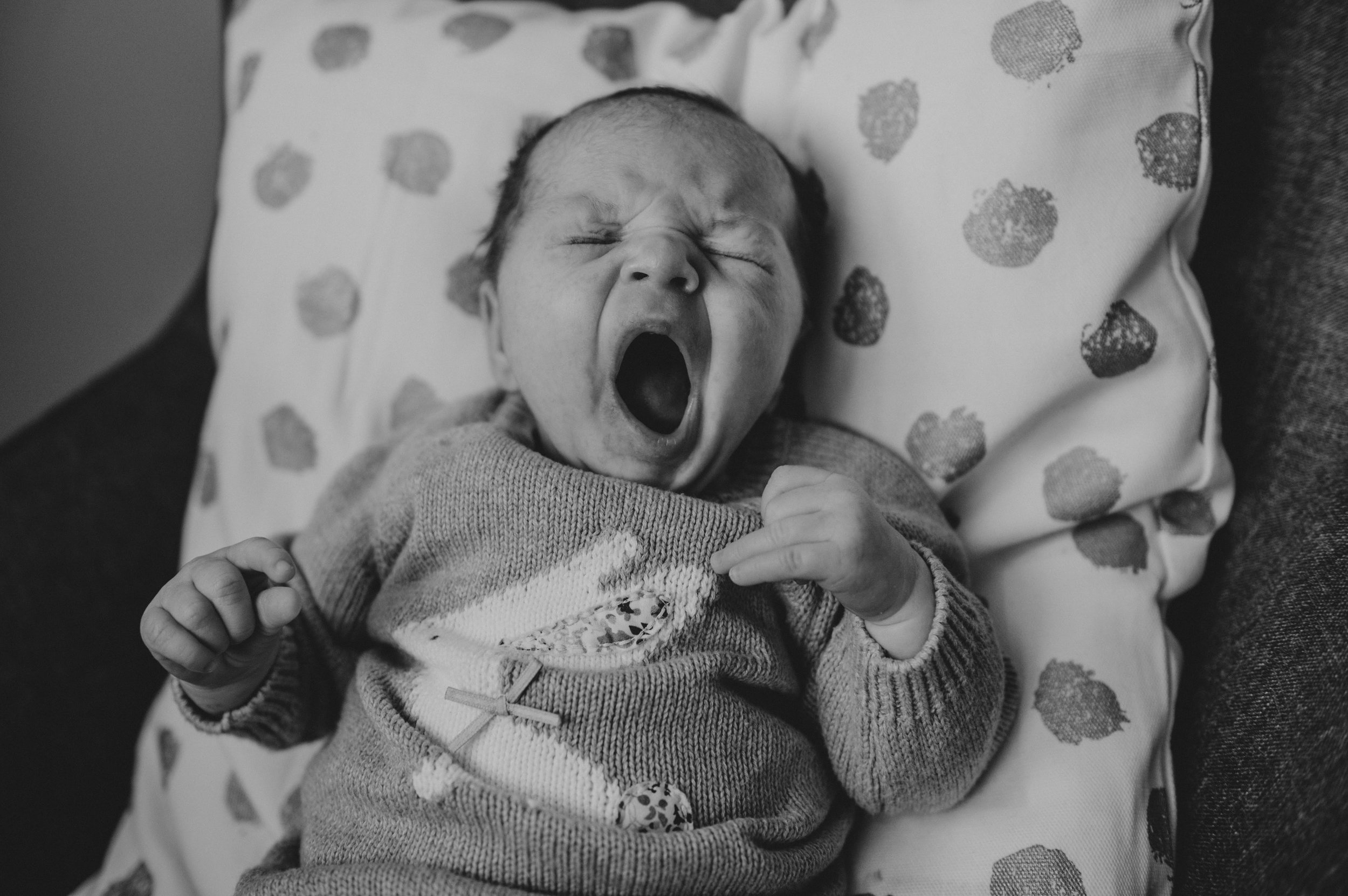 Baby yawn photoshoot