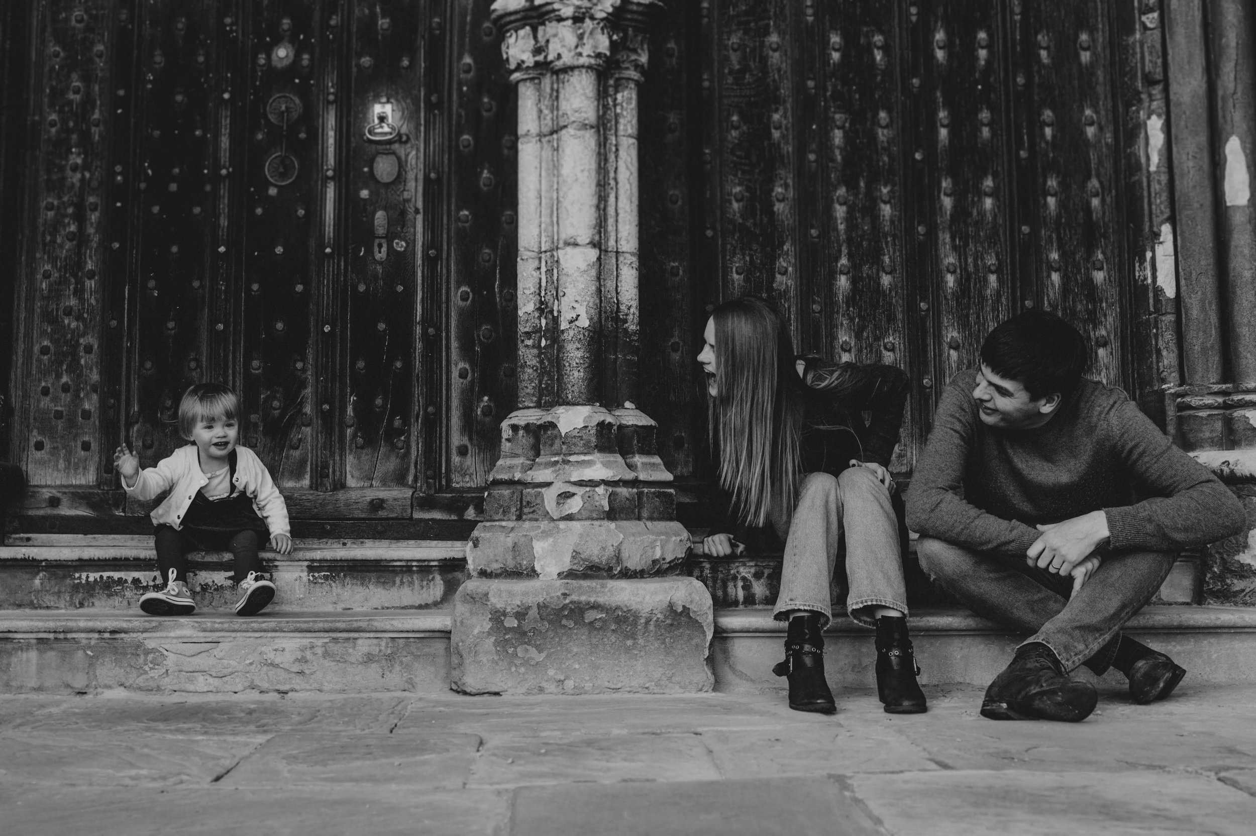 Black and white Lincoln Cathedral family photography