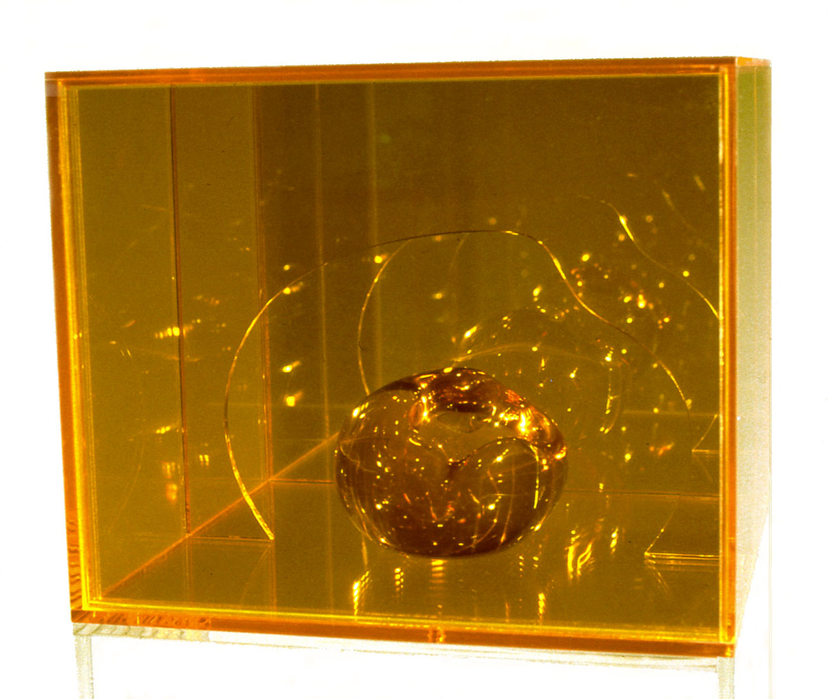 """Yeller Heller, 1967  Resin and Acrylic with Coated Glass  12""""x12""""x12"""""""