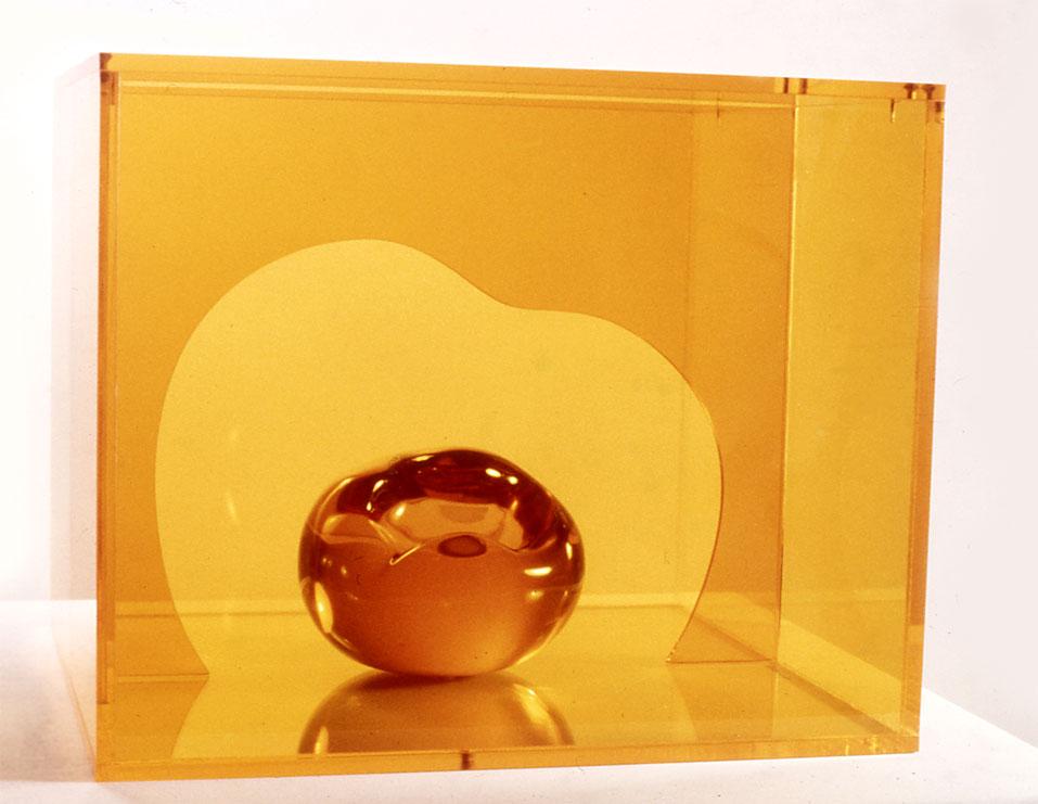 "Orange Organic, 1966  Resin Image with Acrylic Sheets and Acrylic Box  12""x12""x6"""