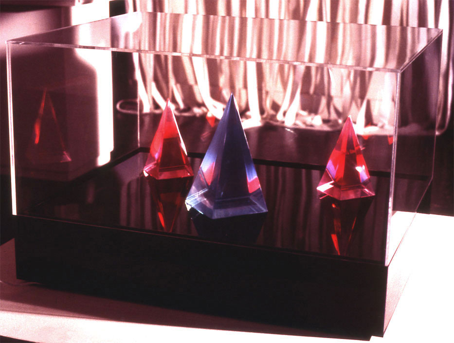 """Pyramids at Giza (at Esther Robles Gallery L.A., 1969  Resin, Acrylic, and Kinetic Light  30""""x24""""x20"""""""