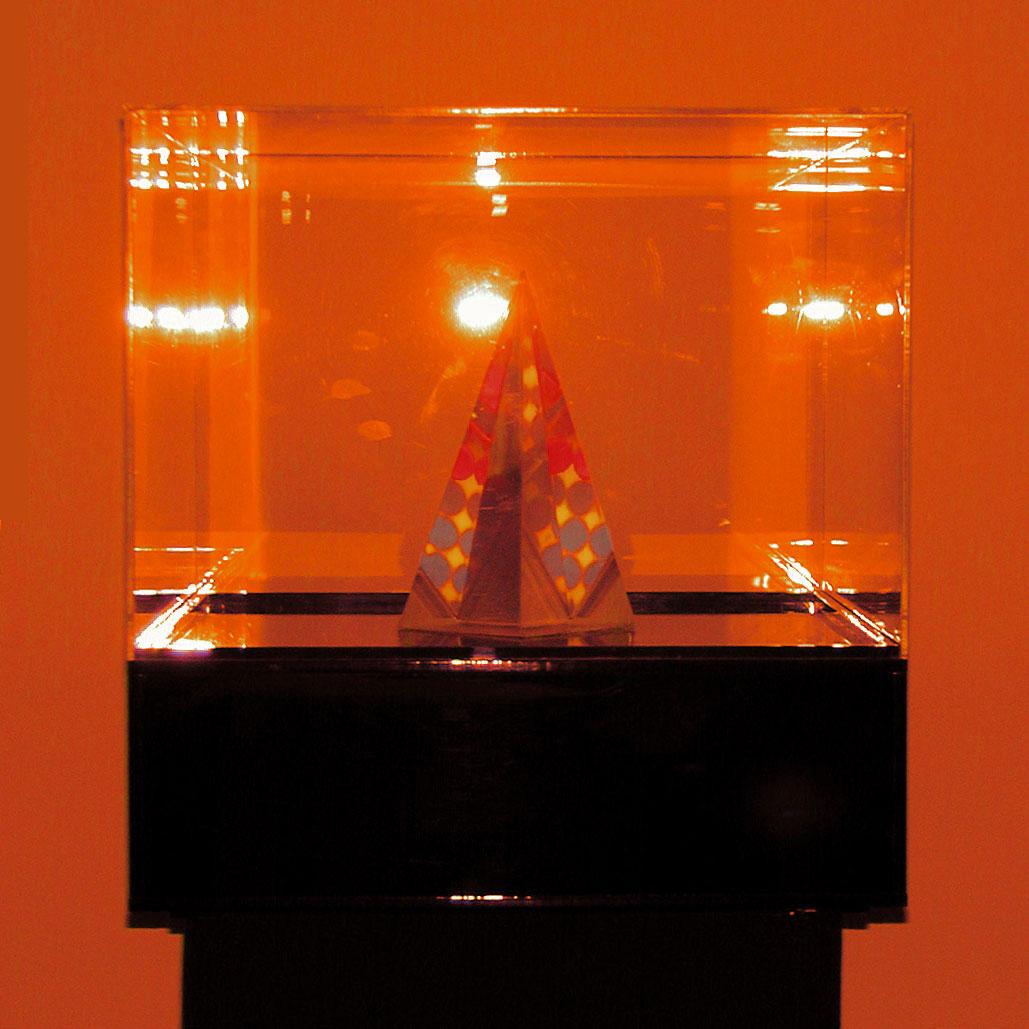 "Polka Dots1, 1971  Acrylic and Kinetic Light  14""x14""x14"""
