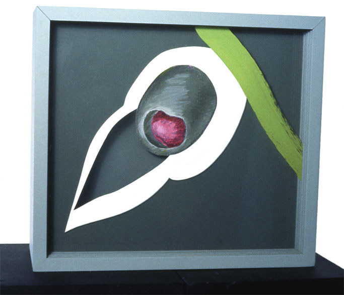 """""""Martini with Olive"""", 1964  Acrylic Paint on Canvas and Plastic Spray on Acrylic Sheets and Wood Box  131/2""""x12""""x5"""""""