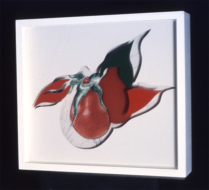 """""""Red and Green Flying Female Forms"""", 1965  Acrylic Paint on Canvas and Plastic Paint Spray on Acrylic Sheets and Wood Box, Charcoal  12""""x15""""x5"""""""