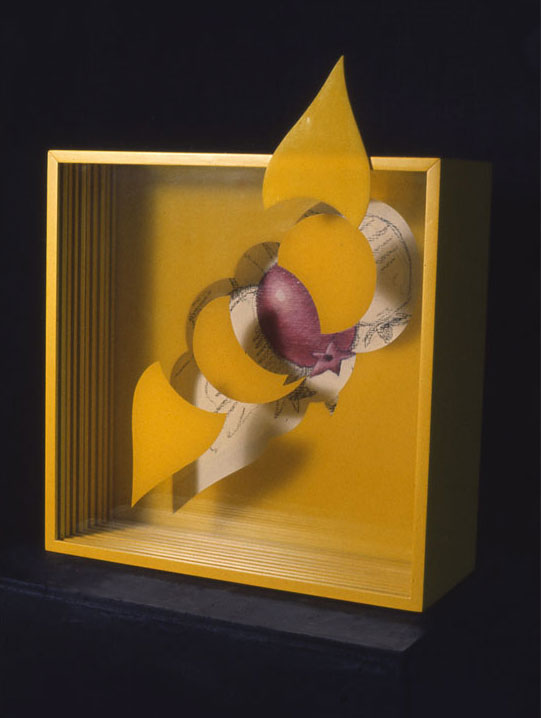 """""""Purple and Yellow Nature Shapes"""", 1965  Acrylic Paint on Canvas, Charcoal, and Acrylic Spray Painted on Plastic Sheets and Wood. Plastic Shape.  12""""x15""""x5"""""""