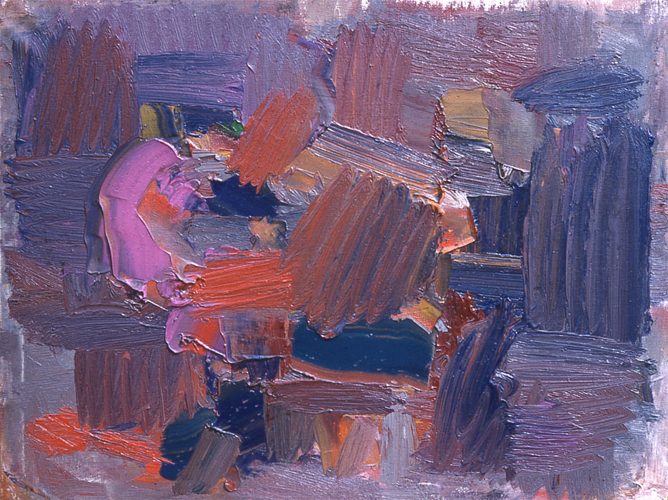 "Blue and Violet Shapes, 1958  Oil on Canvas  15""x25"""