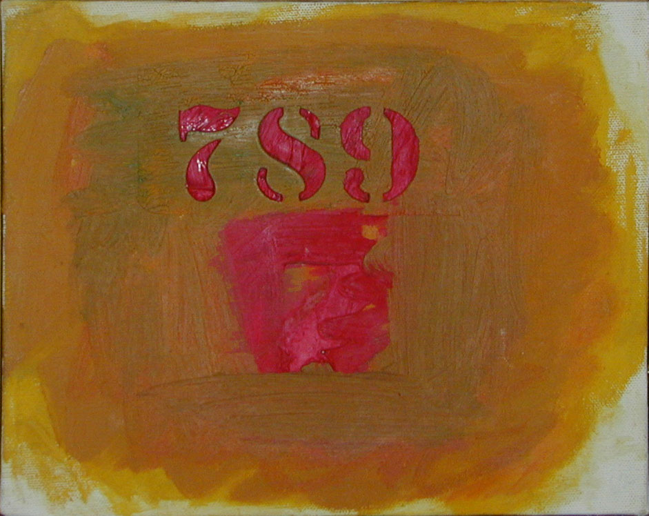 "Red Numbers, Red Non Object, 1962  Acrylic on Canvas  8""x10"""