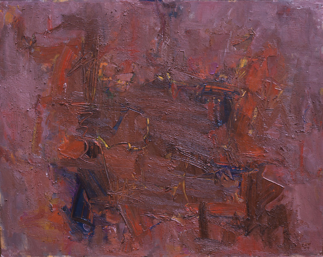 "Rust, 1960  Oil on Canvas  54"" x 64"""