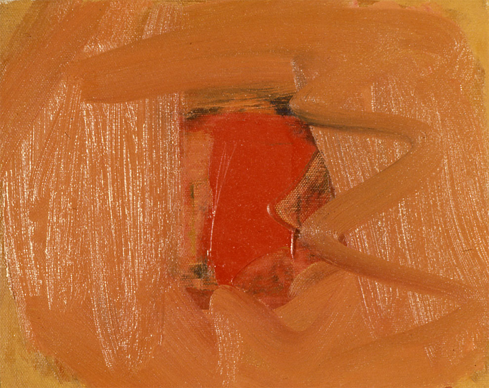 "Red Non Object, 1962  Oil on Canvas  8""x10"""