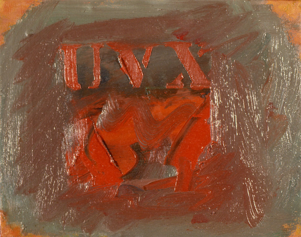 "Red Letters, Red Non Object, 1962  Acrylic on Canvas  8""x10"""