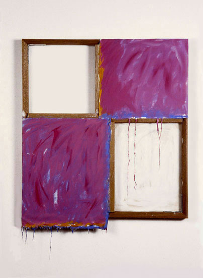 """""""Violet, Orange, Blue and White"""", 1978  Acrylic on White Canvas with WhiteWall and Stretcher Bars  30""""x37""""x2"""""""