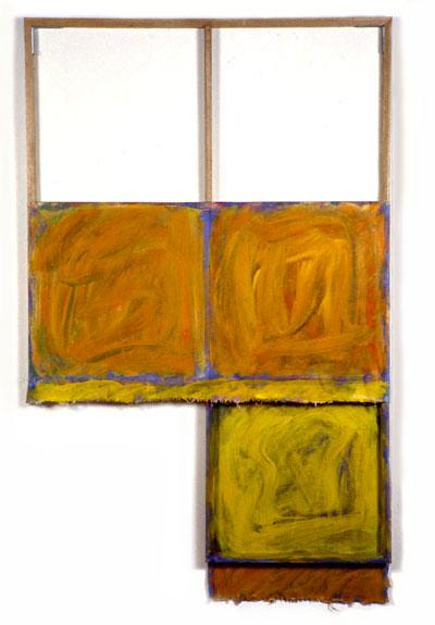 """Yellow, Orange, Blue, White"", 1980  Oil on WhiteCanvas with White Wall and Stretcher Bars  45""x60""x2"""
