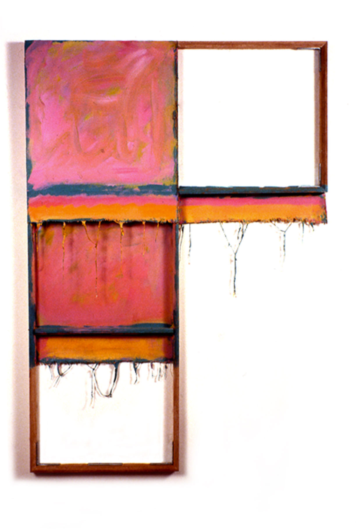"""Pink,Orange, Green, White"""",1979  Acrylic on WhiteCanvas with White Wall and Stretcher Bars  45""""x60""""x2"""""""