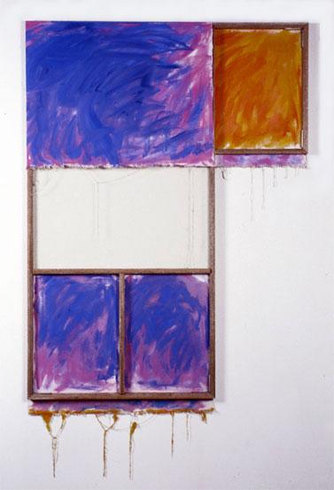 """Blue, Orange, Lavender, White"" 1980  Oil on WhiteCanvas with White Wall and Stretcher Bars  45""x60""x2"""