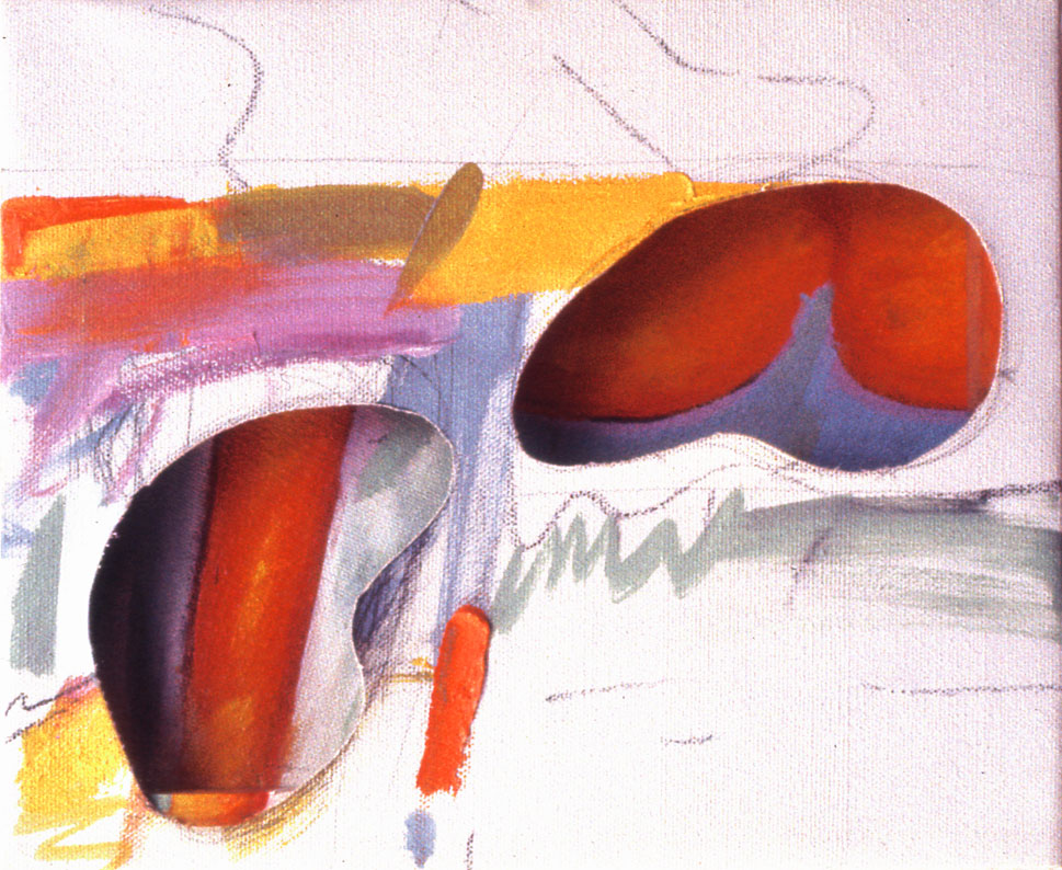 """Two Organic Shapes, 1963  Acrylic, Charcoal on Canvas and Board  8 1/2""""x 9 1/2""""X 2"""""""