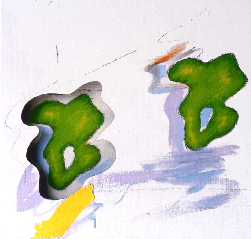 "Double Trouble, 1964  Acrylic, Charcoal on Canvas on Masonite  13 1/2""x 13"" x 2"""
