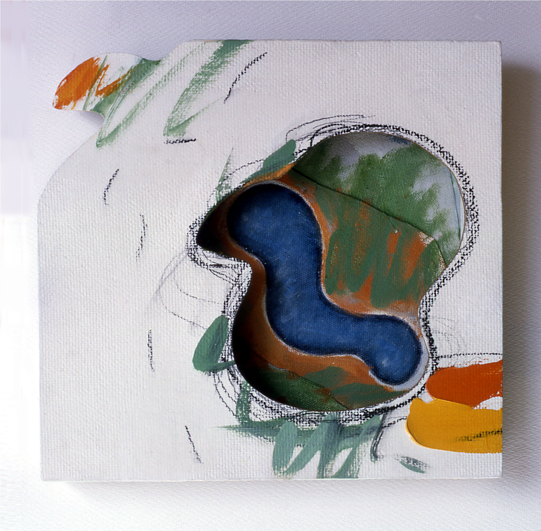 """Early Bird Catches......1964  Acrylic, Charcoal on White Masonite,and Canvas  11""""x11""""x2"""""""