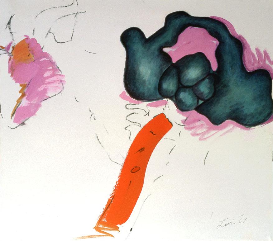 "Meeting Blue Organic, 1964  Acrylic, Charcoal on Canvas  20""x27"""
